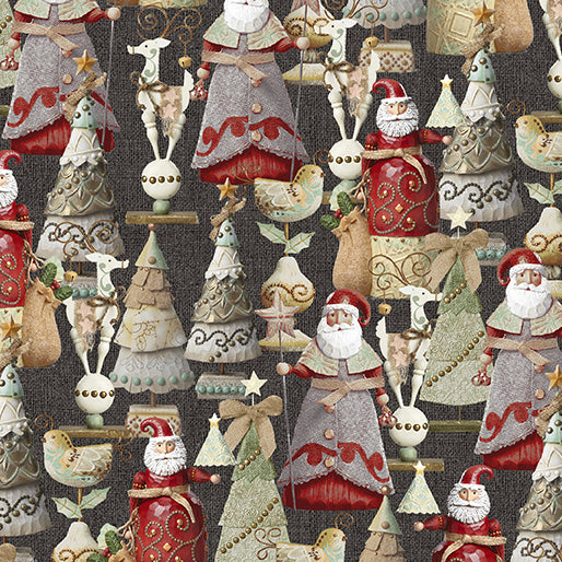 River's End Collection Festive Fun Charcoal ~ Fabric By The Yard