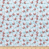 River's End Collection Jolly Santa Light Turquoise ~ Fabric By The Yard