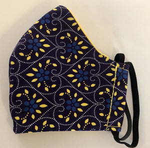 Fabric Face Mask - Navy Hearts