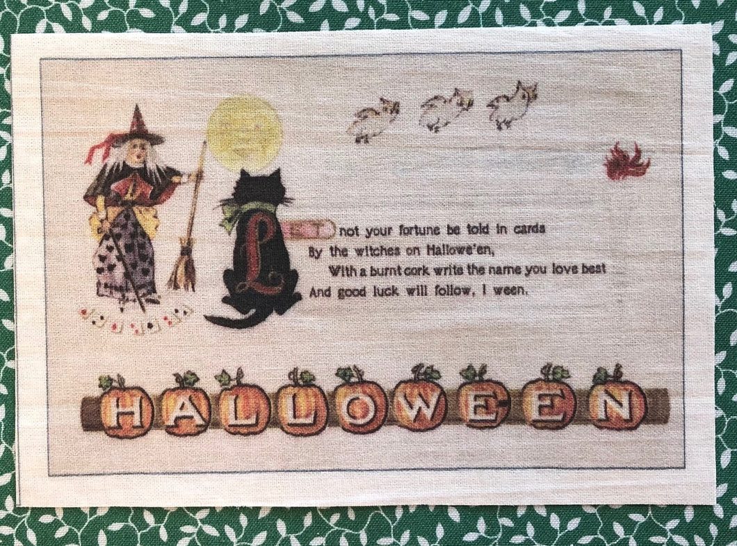 Fabric Postcard ~ Halloween Witch and Cat