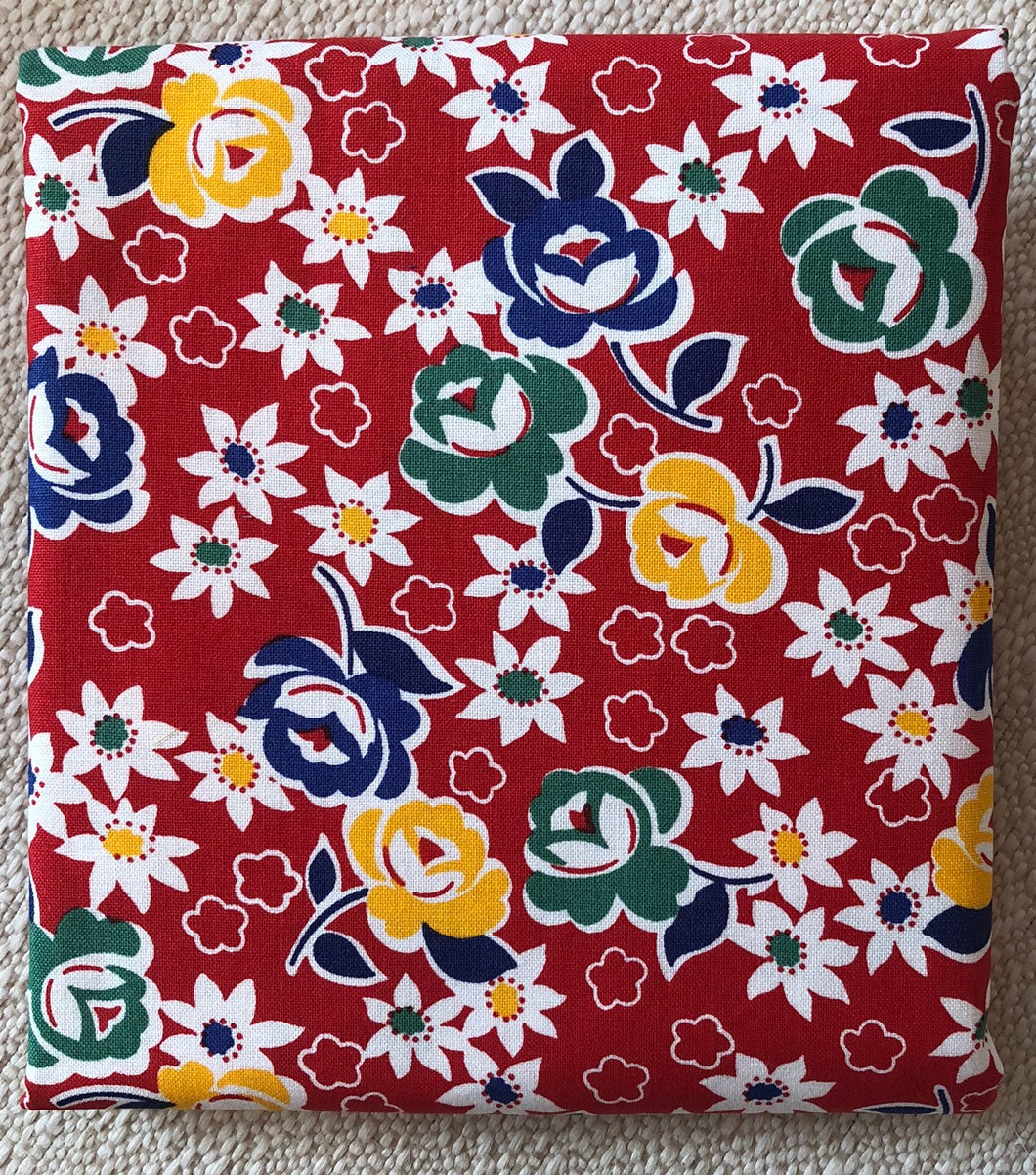 Reproduction Collection Red With Flowers ~ Fabric By The Yard