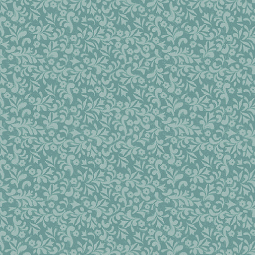 River's End Collection Floral Scroll Turquoise ~ Fabric By The Yard