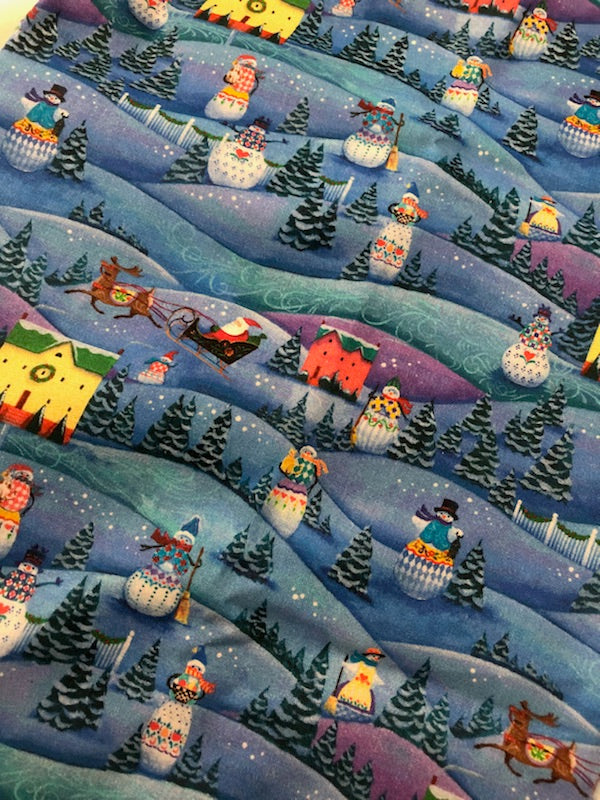 A Quilter's Christmas Collection Snowman Village Blue ~ Fabric By The Yard