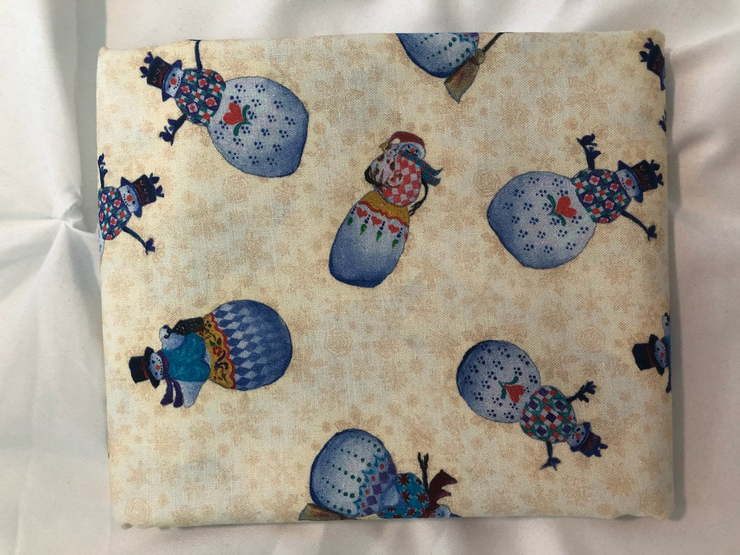 A Quilter's Christmas Collection Snowman Village Cream ~ Fabric By The Yard