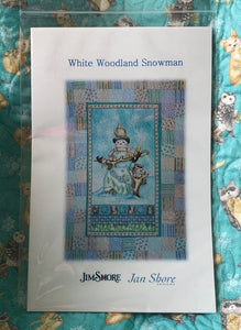 White Woodland Snowman ~ Throw Sized Quilt Kit