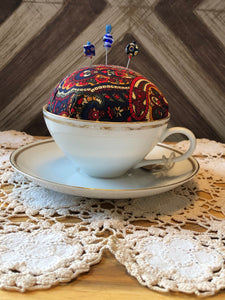 Tea Cup Pincushion ~ Navy & Mulitcolored