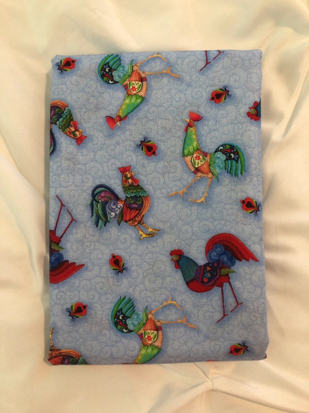 Awaken The Day Collection Tossed Roosters Light Blue ~ Fabric By The Yard