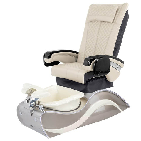 Image of Osaki Pedicure Chairs Beige / Without Jet / Stainless Steel White Line Lulu with Stainless Steel Base