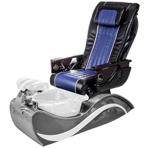 Image of Osaki Pedicure Chairs Black / Blue / White Line Stainless Steel / With Jet FREE OS-OP-04 with Stainless Steel Base Set