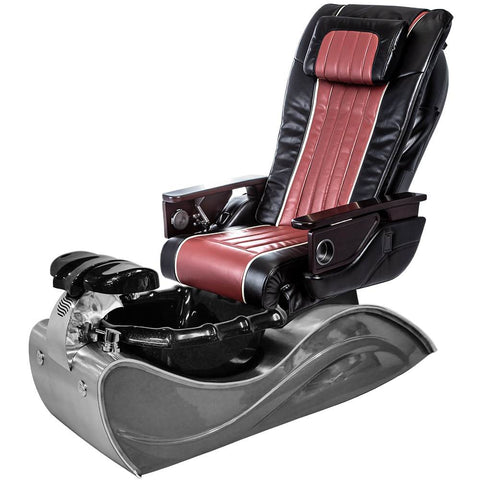 Image of Osaki Pedicure Chairs Black / Red / Solid Stainless Steel / With Jet FREE OS-OP-04 with Stainless Steel Base Set