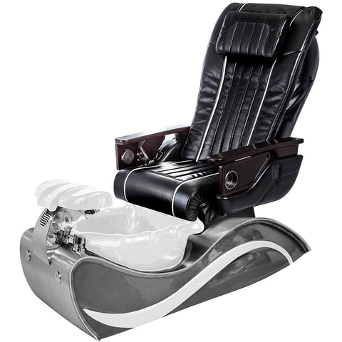 Image of Osaki Pedicure Chairs Black / White Line Stainless Steel / With Jet FREE OS-OP-04 with Stainless Steel Base Set