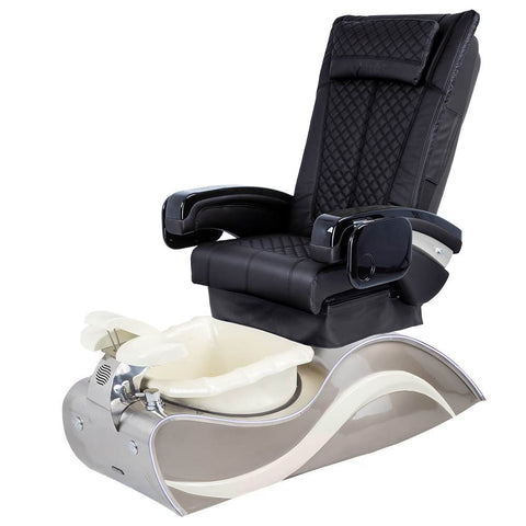 Image of Osaki Pedicure Chairs Black / Without Jet / Stainless Steel White Line Lulu with Stainless Steel Base