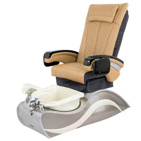 Image of Osaki Pedicure Chairs Brown / Without Jet / Stainless Steel White Line Lulu with Stainless Steel Base