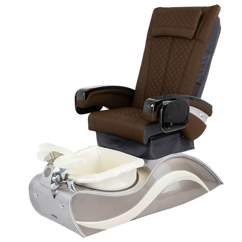 Image of Osaki Pedicure Chairs Capuccino / Without Jet / Stainless Steel White Line Lulu with Stainless Steel Base