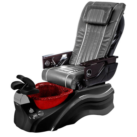 Image of Osaki Pedicure Chairs Pewter / Primo with Vent Black / Red / With Jet Free OS-OP-04 with Base Set