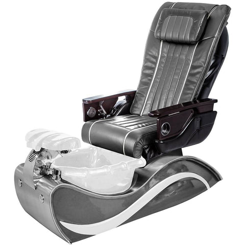 Image of Osaki Pedicure Chairs Pewter / White Line Stainless Steel / With Jet FREE OS-OP-04 with Stainless Steel Base Set