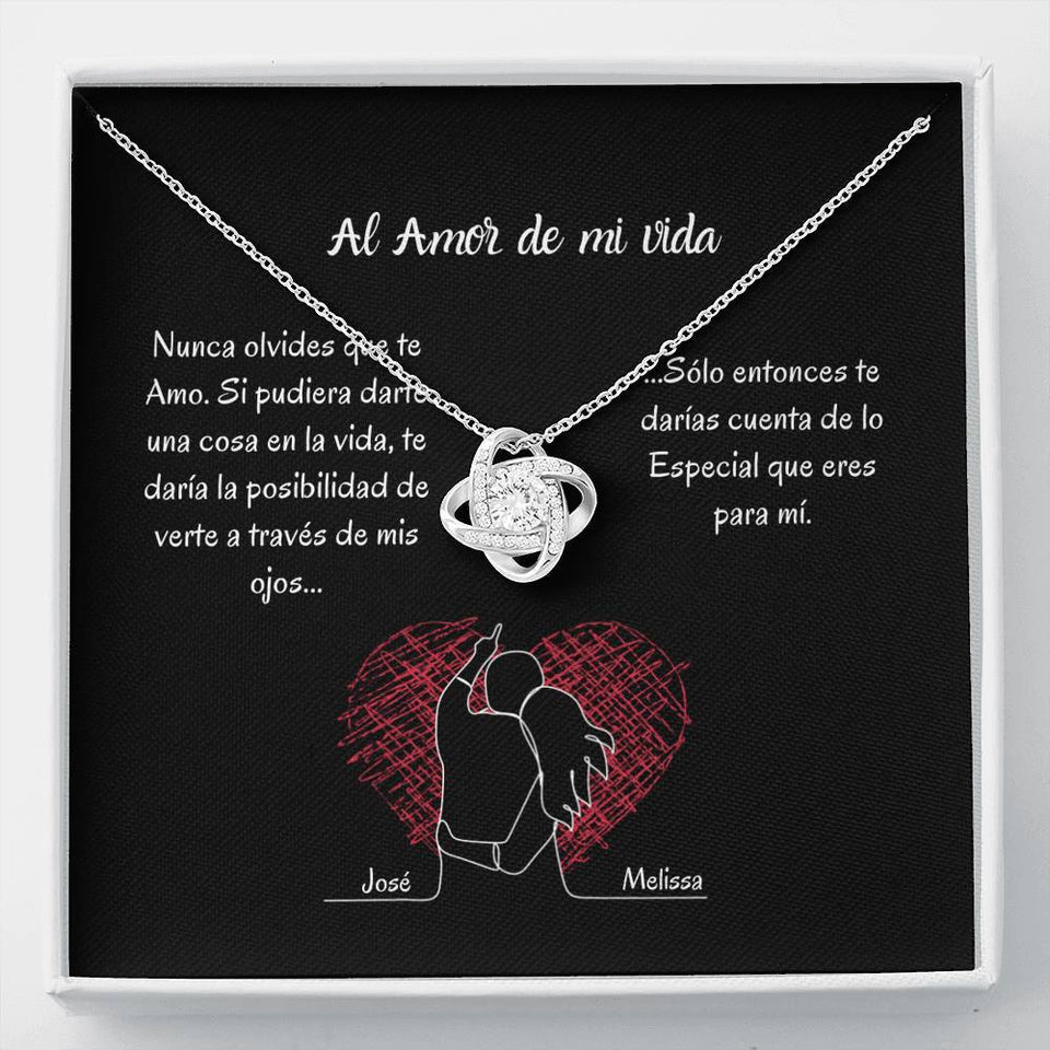 AL AMOR DE MI VIDA (Tarjeta PERSONALIZADA) - collar Love Knot (Nudo de Amor) Oro blanco de 14k Jewelry ShineOn Fulfillment 14K White Gold Finish