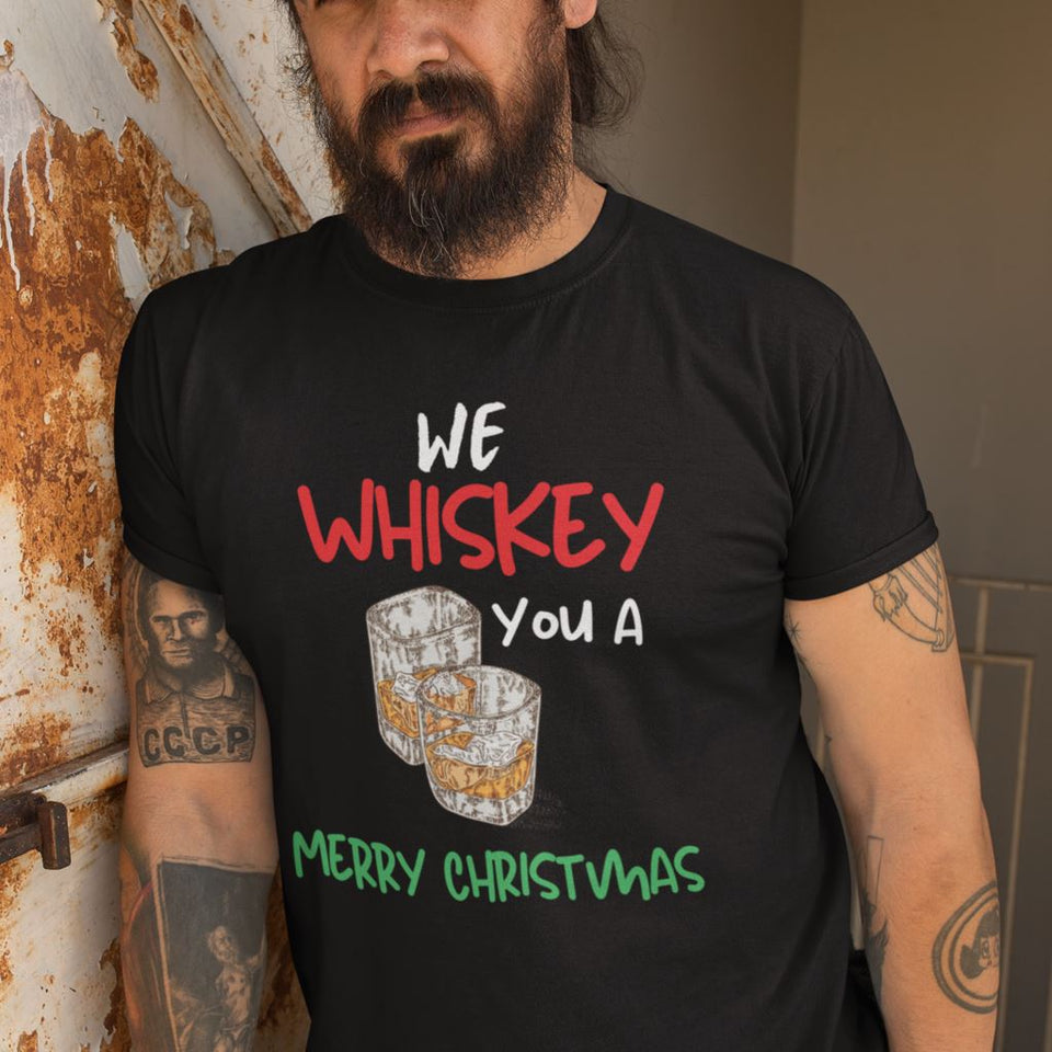 La mejor camiseta para esta Navidad, We Whiskey you a Merry Christmas T-Shirt Printify Black L
