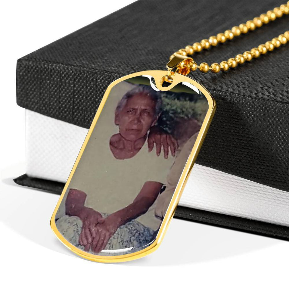 Personalizado María 2 Jewelry ShineOn Fulfillment Dog Tag with Military Ball Chain (18k Yellow Gold Finish) No