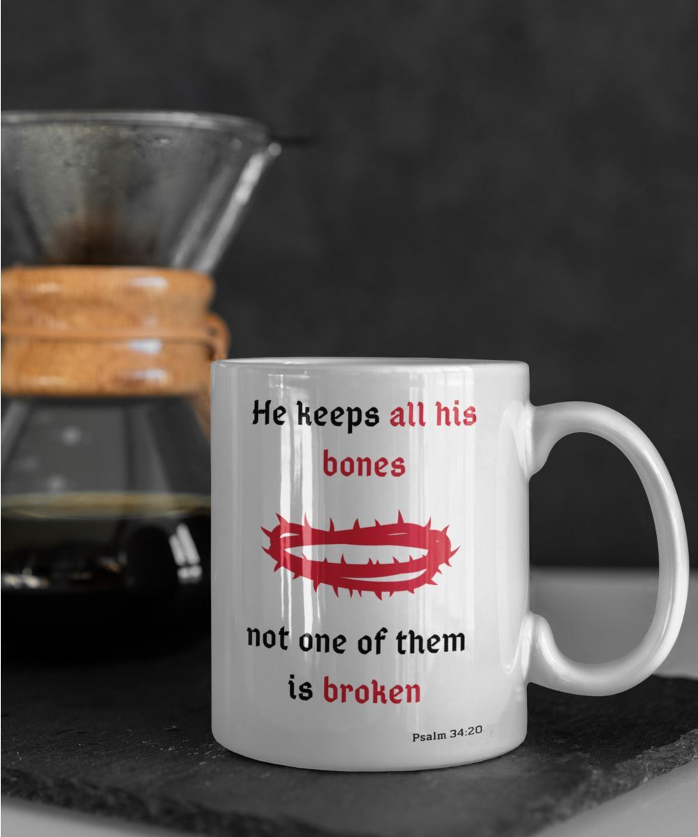 Taza con Mensaje Cristiano en Inglés: He keeps all his bones, not one of them is broken. Psalm 34:20 Coffee Mug Regalos.Gifts