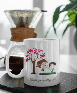 Taza de café con mensaje para Sorpresa: Would you marry me? Coffee Mug Regalos.Gifts