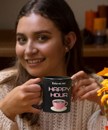 Taza Negra de Café: Esta es mi Happy Hour Coffee Mug Regalos.Gifts