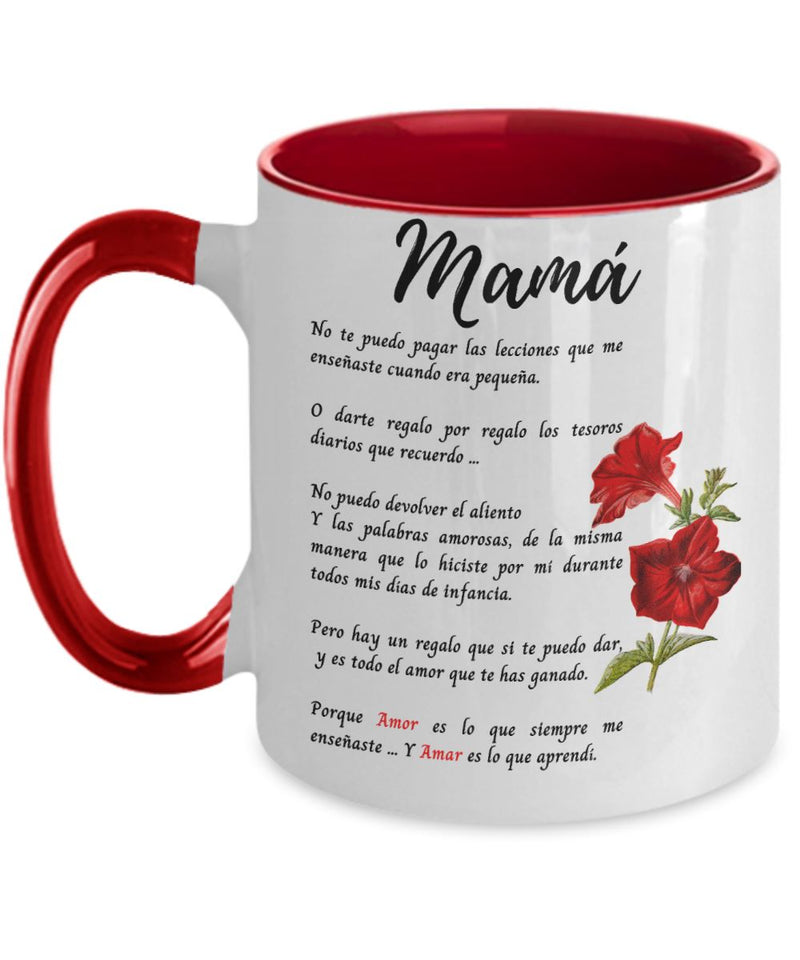 Taza Para mamá - 2 tonos - Te Amo mamá Coffee Mug Regalos.Gifts Two Tone 11oz Mug Red