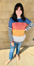 Load image into Gallery viewer, Striped Block Top in Navy/Rust