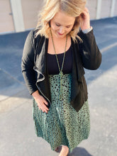 Load image into Gallery viewer, Pleat It Out Hunter Green Polka Dot Skirt