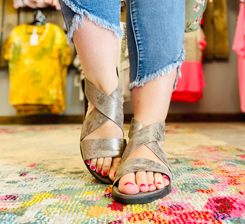 Pewter Open Toe Sandals