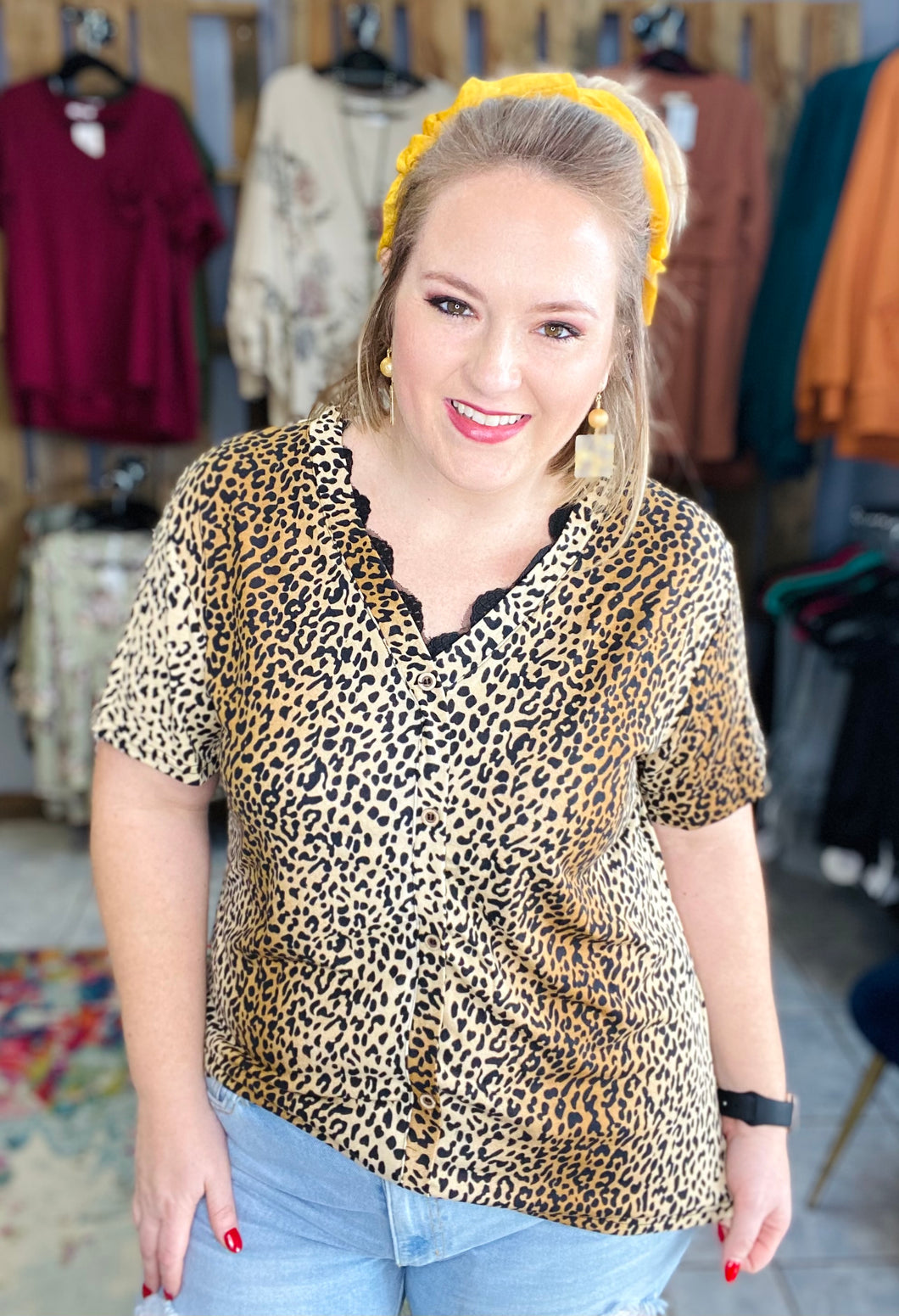 Let Loose Leopard Top with Buttons
