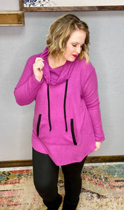 Magenta Cowl Neck Top