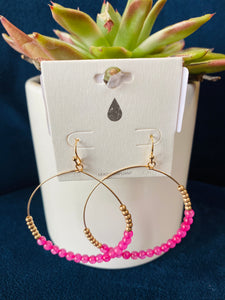 Colored Beaded Gold Hoops (Multiple Colors)