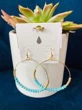 Load image into Gallery viewer, Colored Beaded Gold Hoops (Multiple Colors)