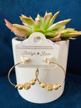 Load image into Gallery viewer, Gold Sparkly Bead Embellished Hoops
