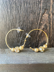 Gold Sparkly Bead Embellished Hoops