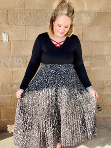 Ruffle Me Pretty Pleated Black Maxi Skirt