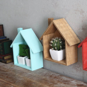 Wooden House Wall Shelf