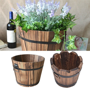 Wooden Barrel Flower Pot