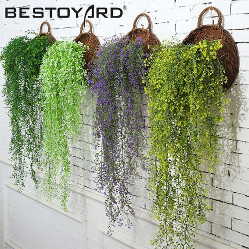 Hanging Flower Plant Rattan Flowers Artificial Hanging Plant For Home Garden Wall Decoration