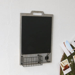 Wooden Chalkboard with Basket