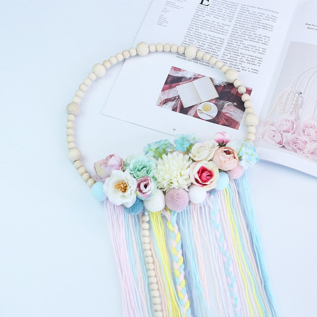 Wooden Beads Wreath with Floral and Fringe