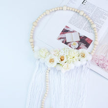 Load image into Gallery viewer, Wooden Beads Wreath with Floral and Fringe
