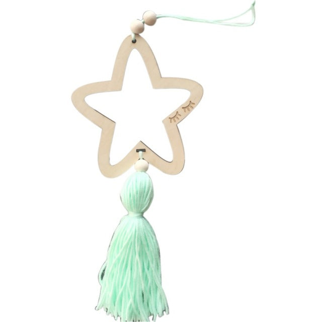 Wooden Star Wall Hanging with Tassel