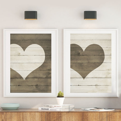 Farmhouse Heart Print Wooden Heart Sign