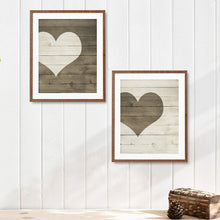 Load image into Gallery viewer, Farmhouse Heart Print Wooden Heart Sign