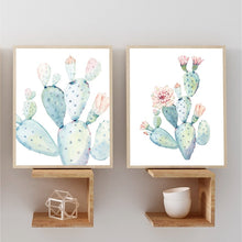 Load image into Gallery viewer, Cacti Art Print Pastel Watercolor