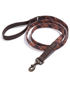 House Of Barker Beige/brown Plaid Leash 6 Ft Brown