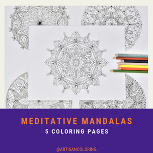 graphic about Printable Adult Coloring Pages Pdf identify Meditative Mandalas - Printable Grownup Coloring Guide PDF with