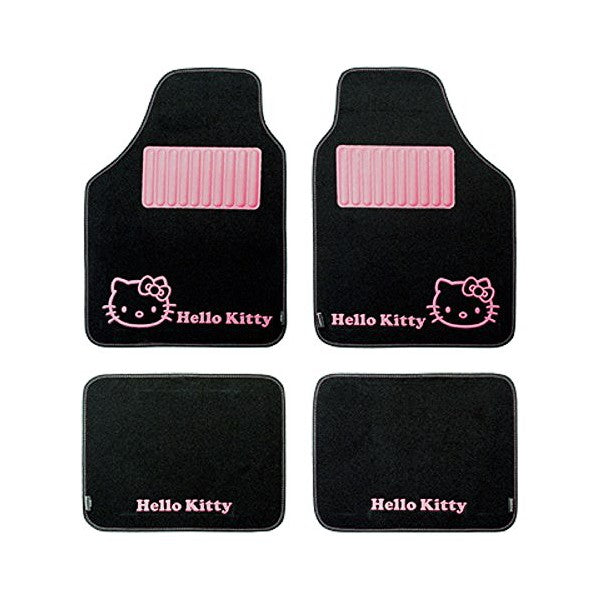 Set de tapis de voitures Hello Kitty Star Universel Noir Rose (4 pcs)